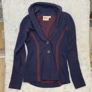 Anthropologie Rosie Neira Navy Jacquard Cardigan